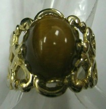 Tiger Eye with gold color shank adjustable ring - $14.84