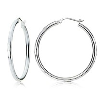 Sterling Silver Hoop Earrings Hammered Jewelry 30mm Anti-Tarnish - $33.98