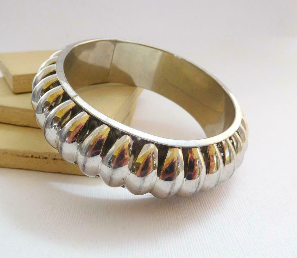 Vintage Silver Tone Wide Ethnic Boho Tribal Statement Bracelet T24