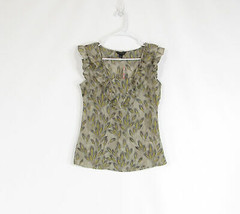 Taupe yellow floral print BANANA REPUBLIC blouse XS - $14.99