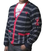Crooks & Castles Dark Navy White Red Knit Cotton Devil Cardigan Sweater NWT image 2