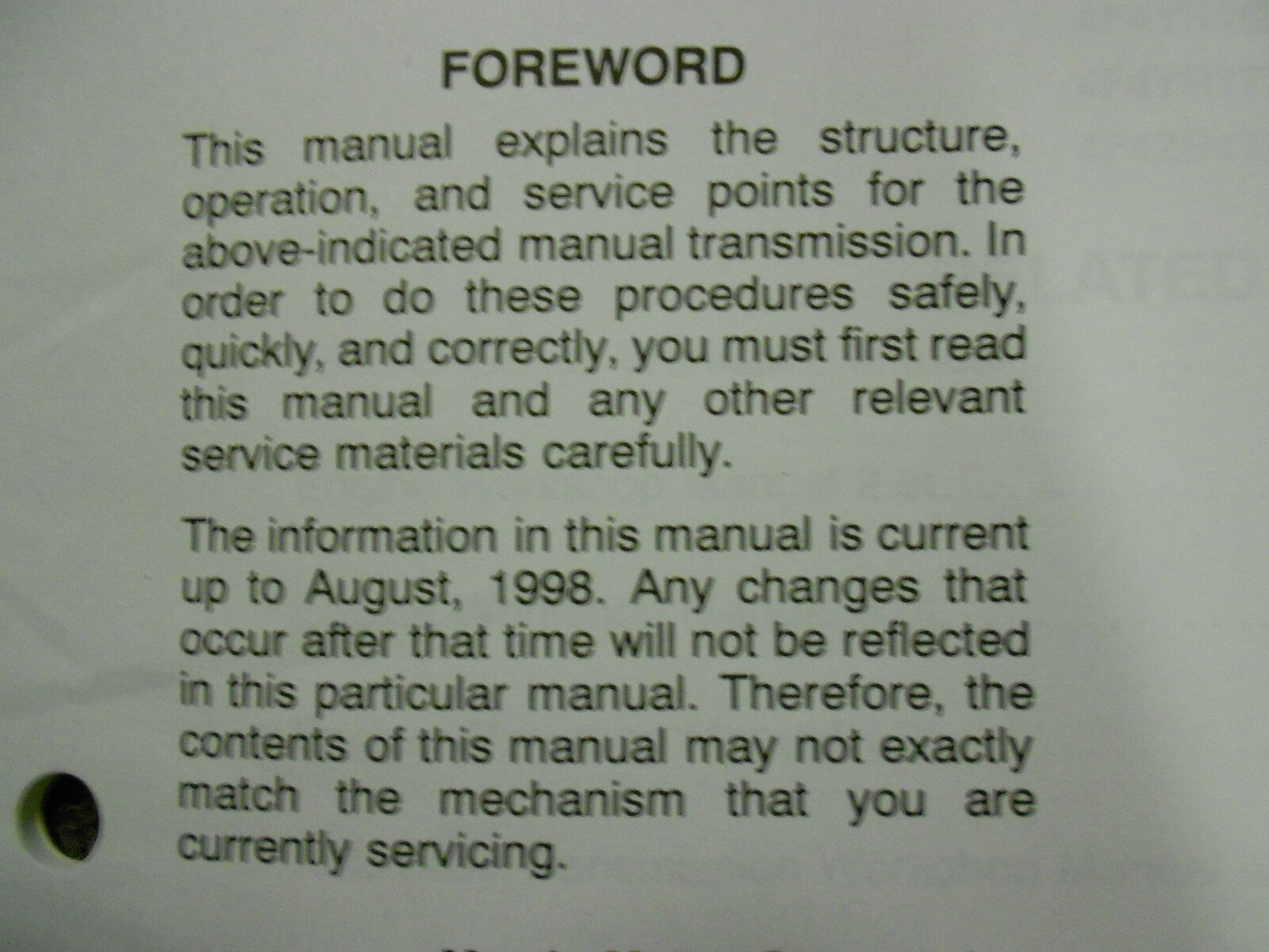 1999 Mazda B-Series Truck Manual Transmission Service Repair Shop Manual OEM 99