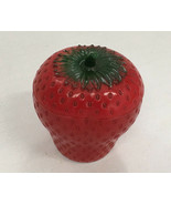 vintage milk glass painted red strawberry pot  with lid jam pot country ... - $12.17