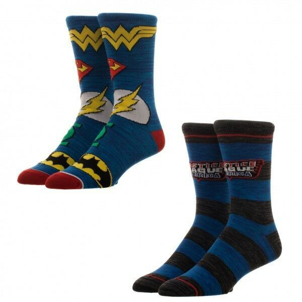 Justice League Of America Superman Flash Dc Comics Adult 2 Pack of Crew Socks