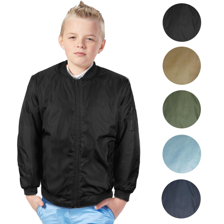 Boy's Kids Premium Stylish Water Resistant Padded Zip Up Flight Bomber Jacket