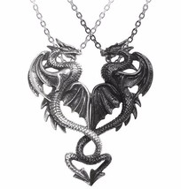 Draconic Tryst Necklace Two Interlocking Dragons Pendants Alchemy Gothic... - $39.95