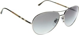 Burberry Gafas de Sol BE3056 100611 57mm Piloto Plata Marco Metal - $128.69