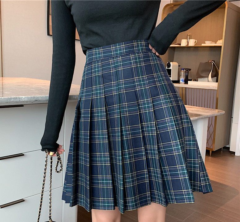 Knee Length Black Plaid Skirt School Girl Plus Size Knee Pleated PLAID SKIRTS image 7