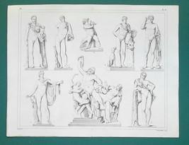 SCULPTURE ART Laocoon Germanicus Apollo Faun Antinous - 1844 Antique Print - $22.46