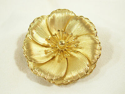 Primary image for Brushed Gold Plate Layered Petals Flower Brooch Big Beautiful Vintage Estate