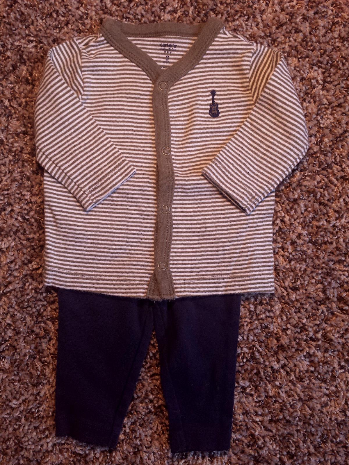 Boy's Size 3 M 0-3 Months 2 Piece Carter's Gray Striped Guitar Top & Navy Pants