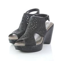 JBU Jambu Black Leather Cut Out Slingback Sandals Wedge Heels Womens 7.5 M - $39.47