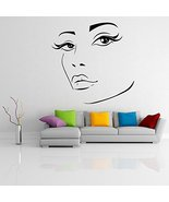 ( 20'' x 19'') Vinyl Wall Decal Womens Elegant Face Silhouette / Sexy Te... - $21.32