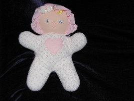 Eden Stuffed Plush Cloth Baby Girl Doll Rattle Heart Terry White Pink Polka Dot - $25.73