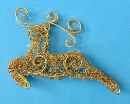 Golden Reindeer Ornament Prancing Bent Wire Sparkly Christmas Decoration - $8.90