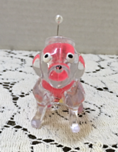 Vintage KITSCHY Clear Lucite Plastic Dog Pin Cushion // Retro Sewing Supplies image 5