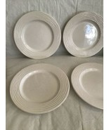 "Lot of 6 Pier 1 Ashlee 8 3/4"" White Earthenware Salad Plates Ridges On R... - $24.99"