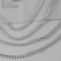 18K WHITE GOLD CHAIN 17.7 MINI CUBAN CURB GOURMETTE LINK 0.9 MM, MADE IN ITALY image 2