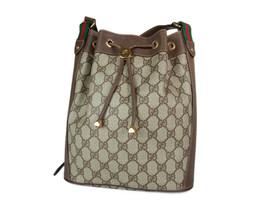 GUCCI GG Web PVC Canvas Leather Browns Drawstring Shoulder Bag GS2171 image 2