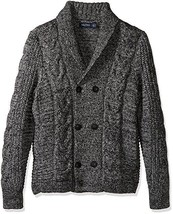 NWT Nautica Mens Cable-Knit Double-Breast Heather, Grey Size S - $105.57