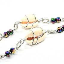 Necklace the Aluminium Long 48 Inch with Seashells Hematite & Pearl White image 6