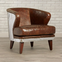 "39.5"" W Aviator Pilot Club Chair Vintage Cigar Brown Leather & Aluminum Rivets - $1,988.00"