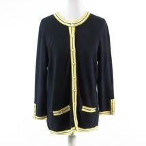 Navy blue yellow cotton blend TALBOTS 3/4 sleeve cardigan sweater M - $29.99