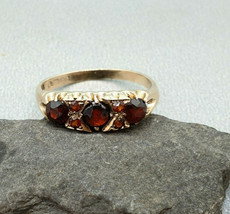 Vintage 9k 9ct Yellow Gold Antique Victorian style Garnet Ring size UK- ... - $82.80