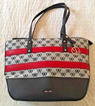 "NINE WEST Black Red & Gray Jacquard Signature Tote Shoulder Bag 16""×10"" - $21.38"