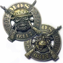 "MARINE CORPS MOS-0317  SCOUT SNIPER 3D 2"" CHALLENGE COIN  - $15.19"