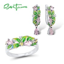 SANTUZZA Jewelry Set 925 Sterling Silver For Woman Delicate Green Leaves... - $45.38