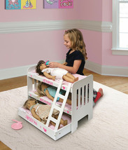 Doll Bunk Bed Trundle Ladder Personalization Kit White Pink Fits Most 18... - $59.95