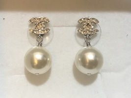 SALE*** Authentic Chanel Classic Crystal CC Pearl Silver Earrings