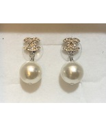 SALE*** Authentic Chanel Classic Crystal CC Pearl Silver Earrings  - $329.99