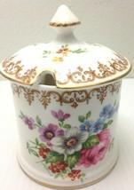 Crown Staffordshire Roses Fine Bone China Jam Jar With Lid Dinnerware - $34.30
