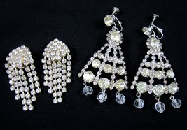2 Pair Rhinestone & Crystal Vintage 1950's Screw Clip Dangle Chandelier ... - $29.99