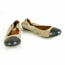 LANVIN Beige linen blue leather cap toe elasticated trim ballet shoes flats ball - $187.11