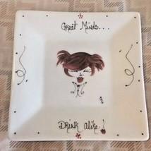 "Crate & Barrel Painted Porcelain Plate ""Great Minds Drink Alike"" Appetiz... - $12.38"
