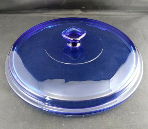 Primary image for Vintage Anchor Hocking Cobalt Blue Glass Round Casserole Replacement Lid