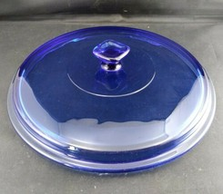 Vintage Anchor Hocking Cobalt Blue Glass Round Casserole Replacement Lid  - $11.88