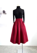 Winter Long Pleated Skirt Warm Woolen Midi Pleated Party Skirt BURGUNDY BLACK image 1