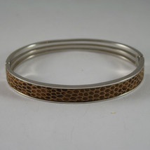 .925 RHODIUM SILVER RIGID BRACELET WITH BROWN LEATHER INSERTS image 1