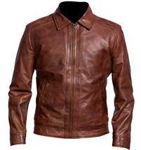 Men Biker Retro Motorcycle Brando Shirt Collar Distressed Brown Leather Jacket image 1
