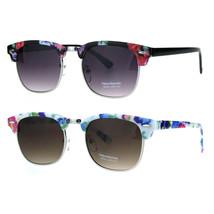 Womens Flower Rectangular Half Horned Rim Hipster Sunglasses - $12.95