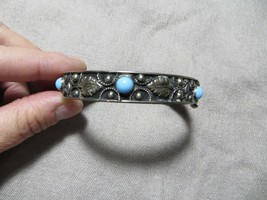 Victorian 800 Silver Grand-tour Italy Hinged Filigree/Leafs Blue Stones ... - $59.99