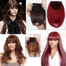 100% Natural Thin Bangs Fringe Clip in Hair Extensions Front Bangs image 10