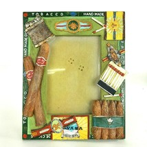 Tobacco Cigars Cuban Handpainted Picture Frame Holds 3.5 X 5 Photo Table... - $13.99