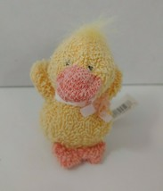 Russ Berrie small mini yellow orange duck plush terry cloth bow flower - $14.84