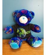 "Build a Bear Workshop Peace Sign Shirt Dark Blue 15"" Bear Plush Stuffed ... - $15.79"