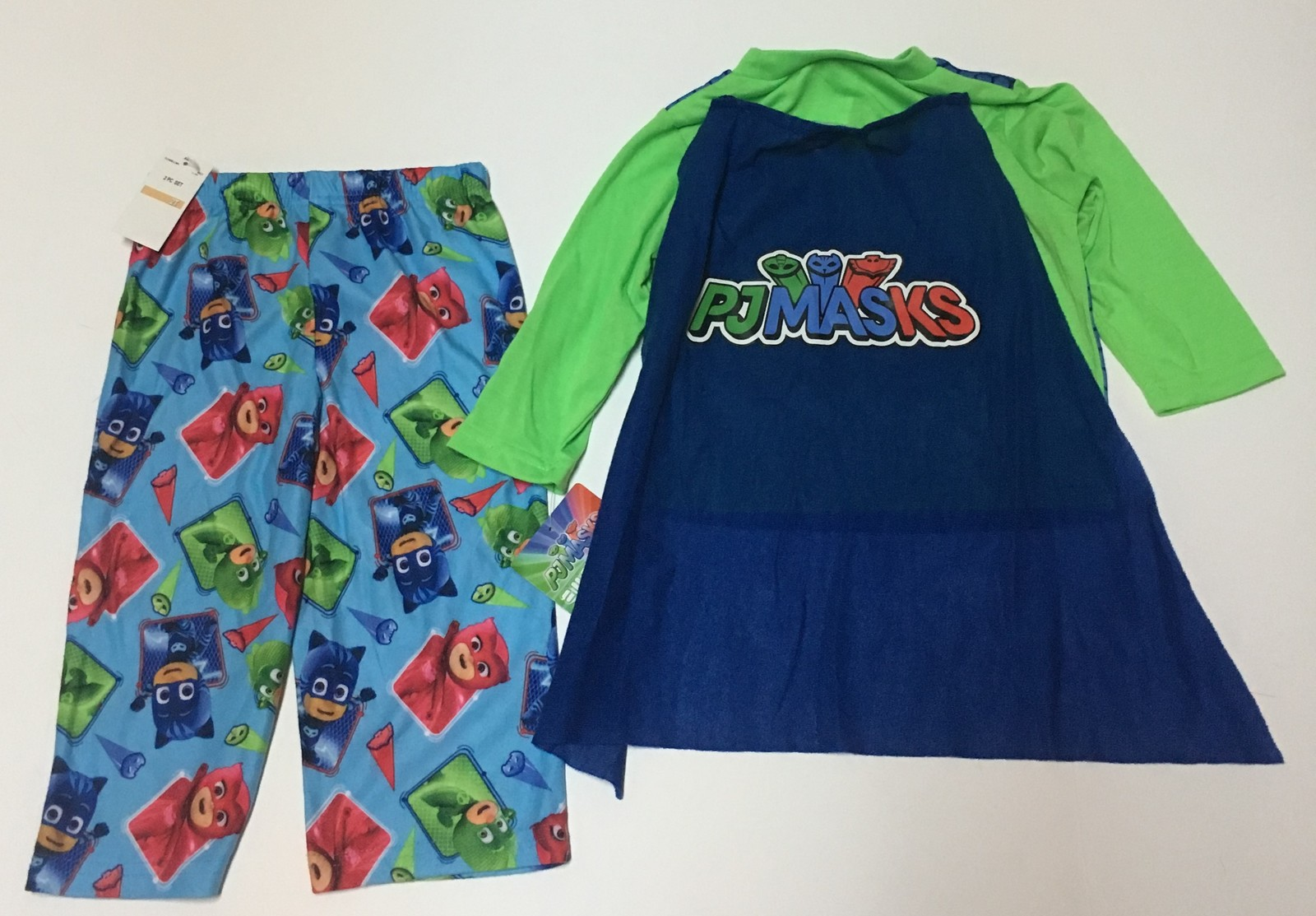 PJ Masks Boy Toddler's Two Piece Pajamas with Cape NWT Sz 2T Top & Pants